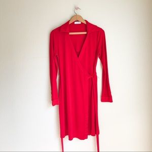 Calvin Klein red wrap dress • Sz 6